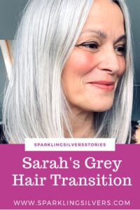 growing out gray hair transition story www.sparklingsilvers.com