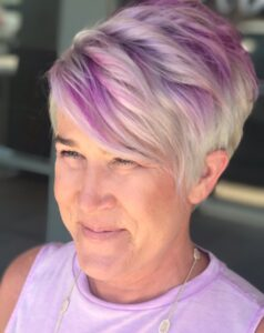 reasons why pixie is trending as a way of growing out grey hair short hair www.sparklingsilvers.com