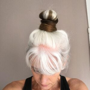 High Bun Gorgeous Gray Hair styles