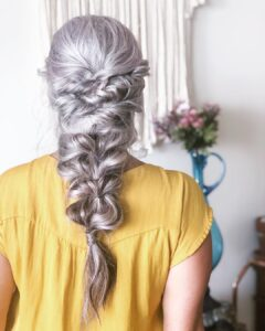 Messy Braid long hair Gorgeous Gray Hair styles