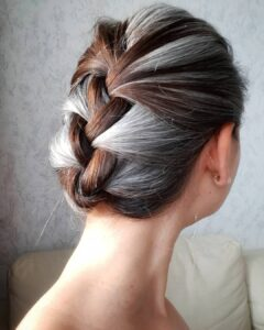 Braided Bun Long hair Gorgeous Gray Hair styles