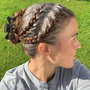Side Twin french braids Gorgeous Gray Hair styles