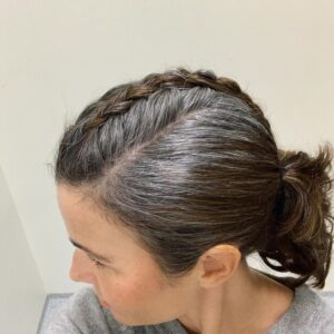 Center French braid Gorgeous Gray Hair styles