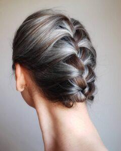 French Braid bun Gorgeous Gray Hair styles